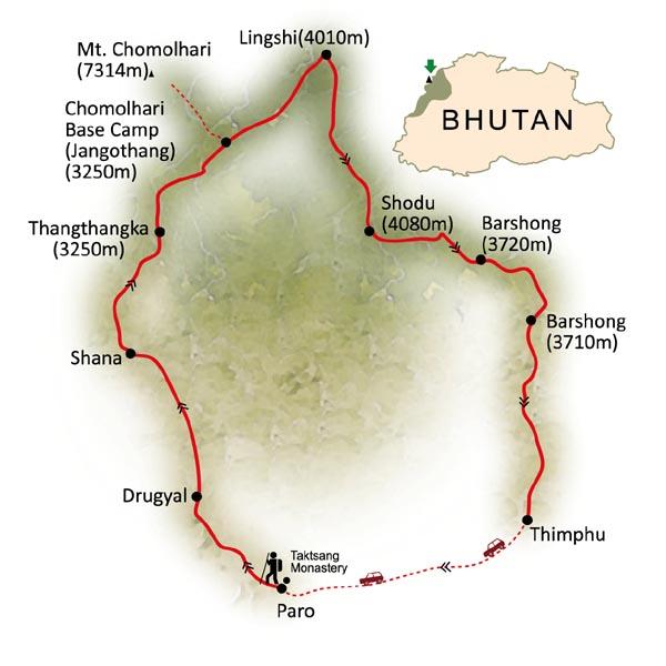 Bhutan Chomolhari Trek map