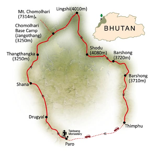 Bhutan Chomolhari Trek map